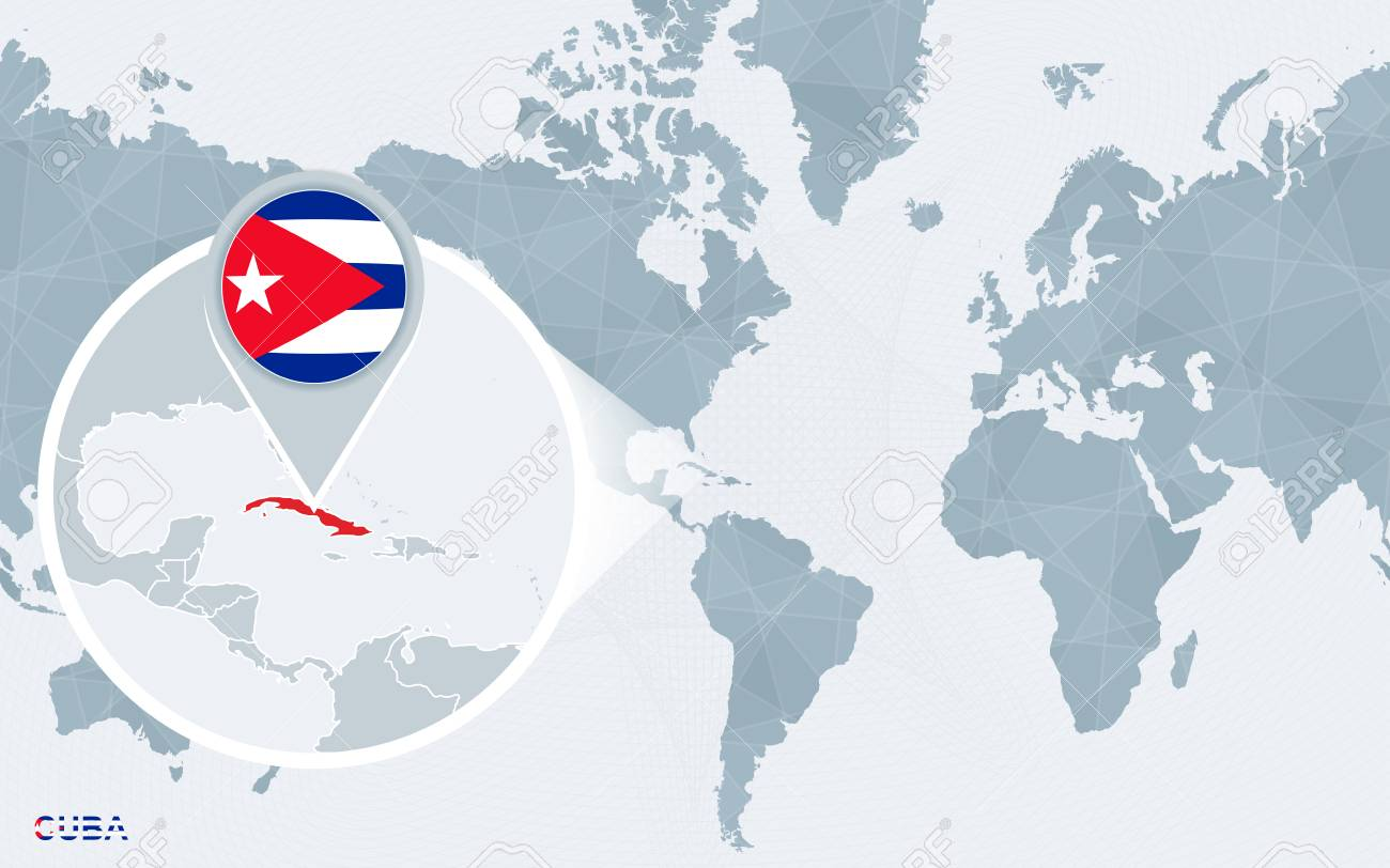 World map centered on America with magnified Cuba. Blue flag..