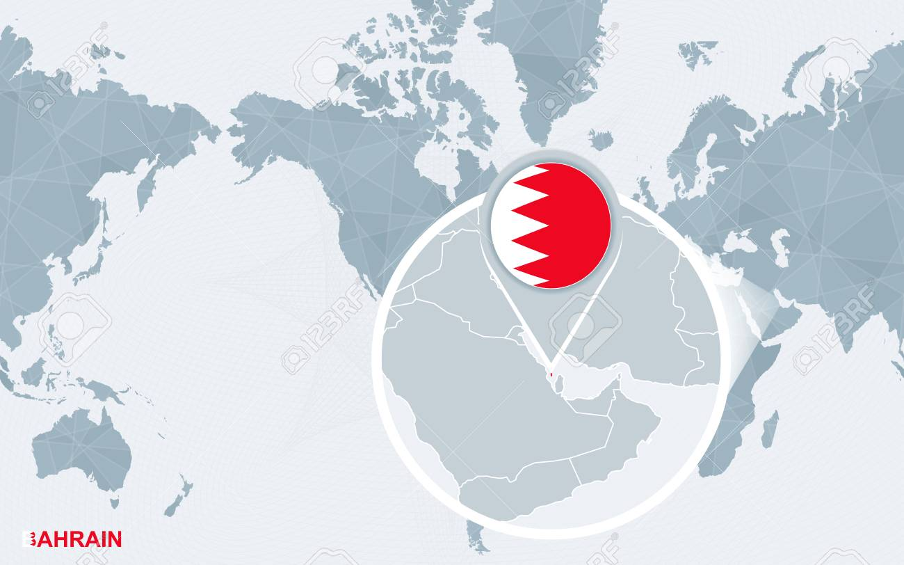 World Map Centered On America With Magnified Bahrain. Blue Flag ...