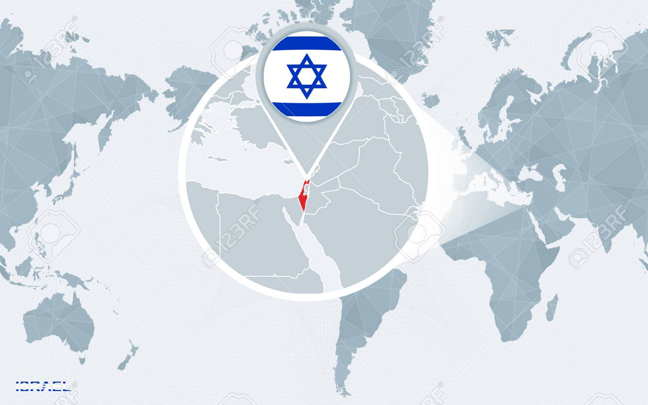 World map centered on America with magnified Israel. Blue flag..