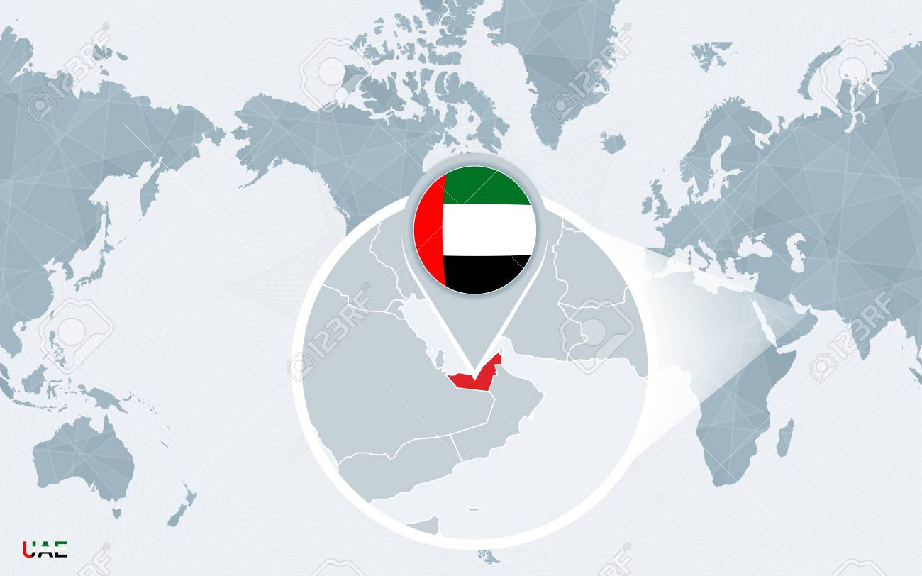 Picture of: World Map Centered On America With Magnified United Arab Emirates Royalty Free Cliparts Vectors And Stock Illustration Image 103118906