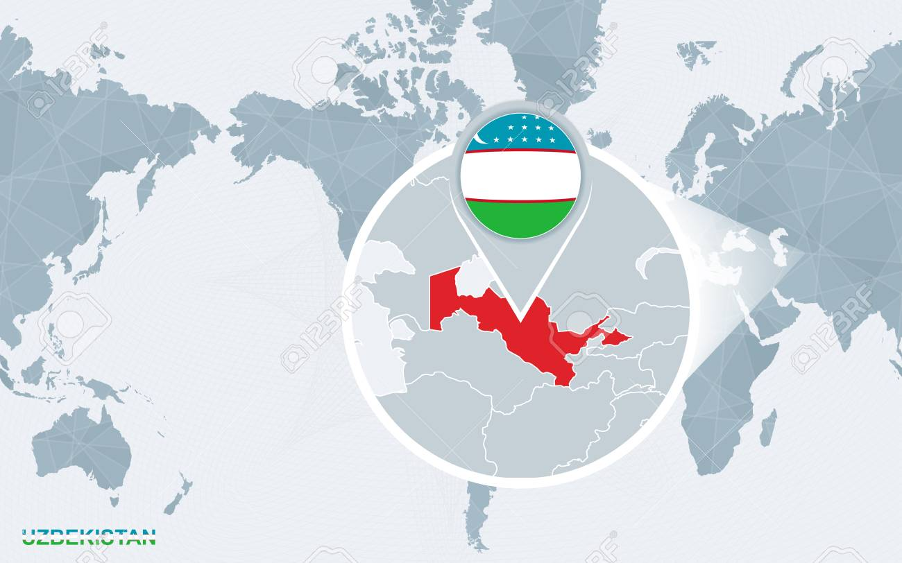 Image of: World Map Centered On America With Magnified Uzbekistan Blue Royalty Free Cliparts Vectors And Stock Illustration Image 103118940