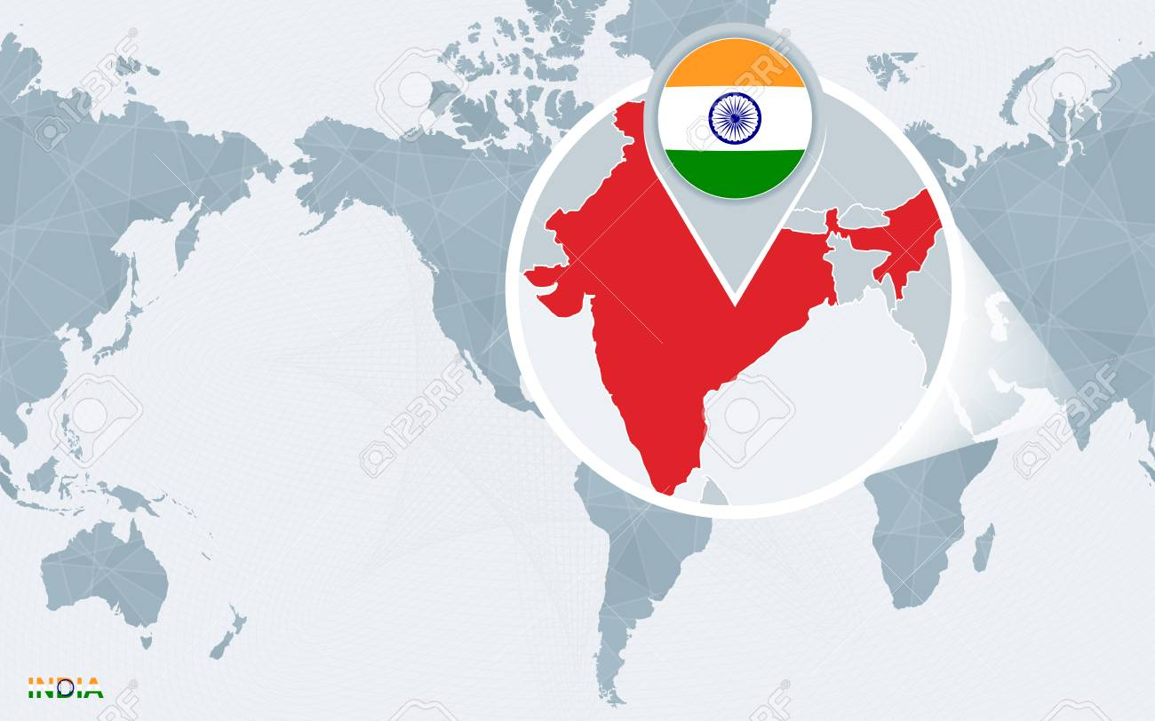 World map centered on america with magnified india blue flag vector world map centered on america with magnified india blue flag and map of india abstract vector illustration gumiabroncs Gallery