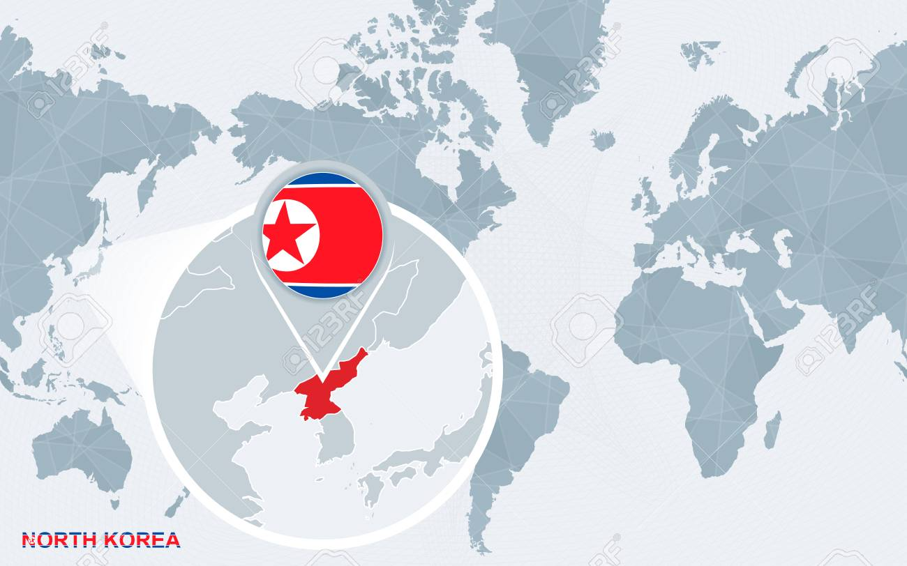 World map centered on America with magnified North Korea. Blue..