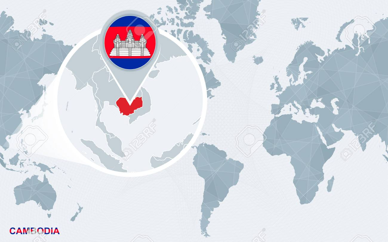 World map centered on America with magnified Cambodia. Blue flag..
