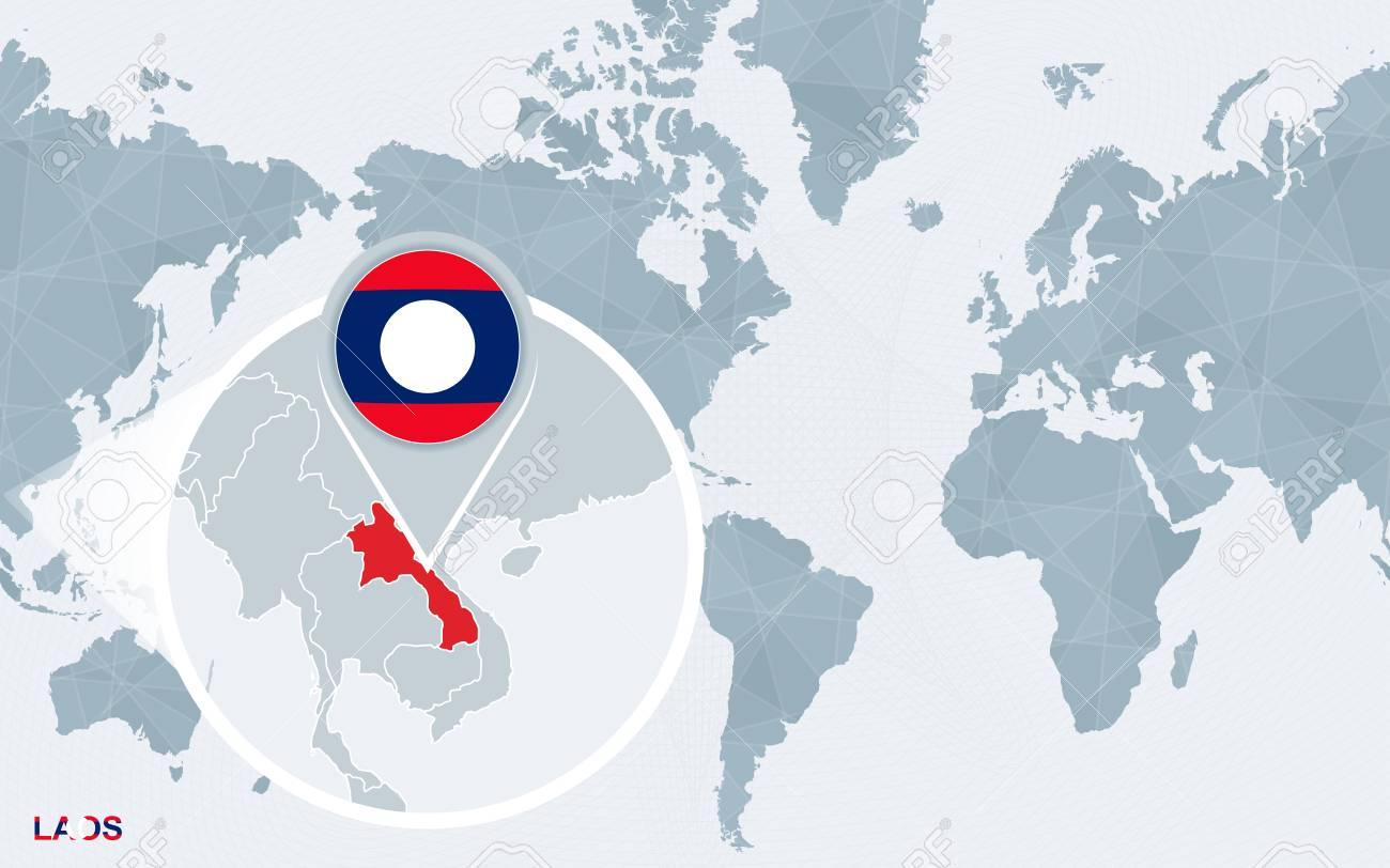 Laos On A World Map.World Map Centered On America With Magnified Laos Blue Flag