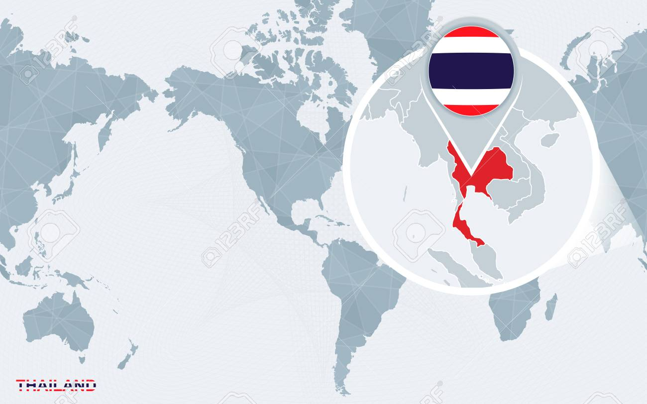 World Map Centered On America With Magnified Thailand Blue Flag