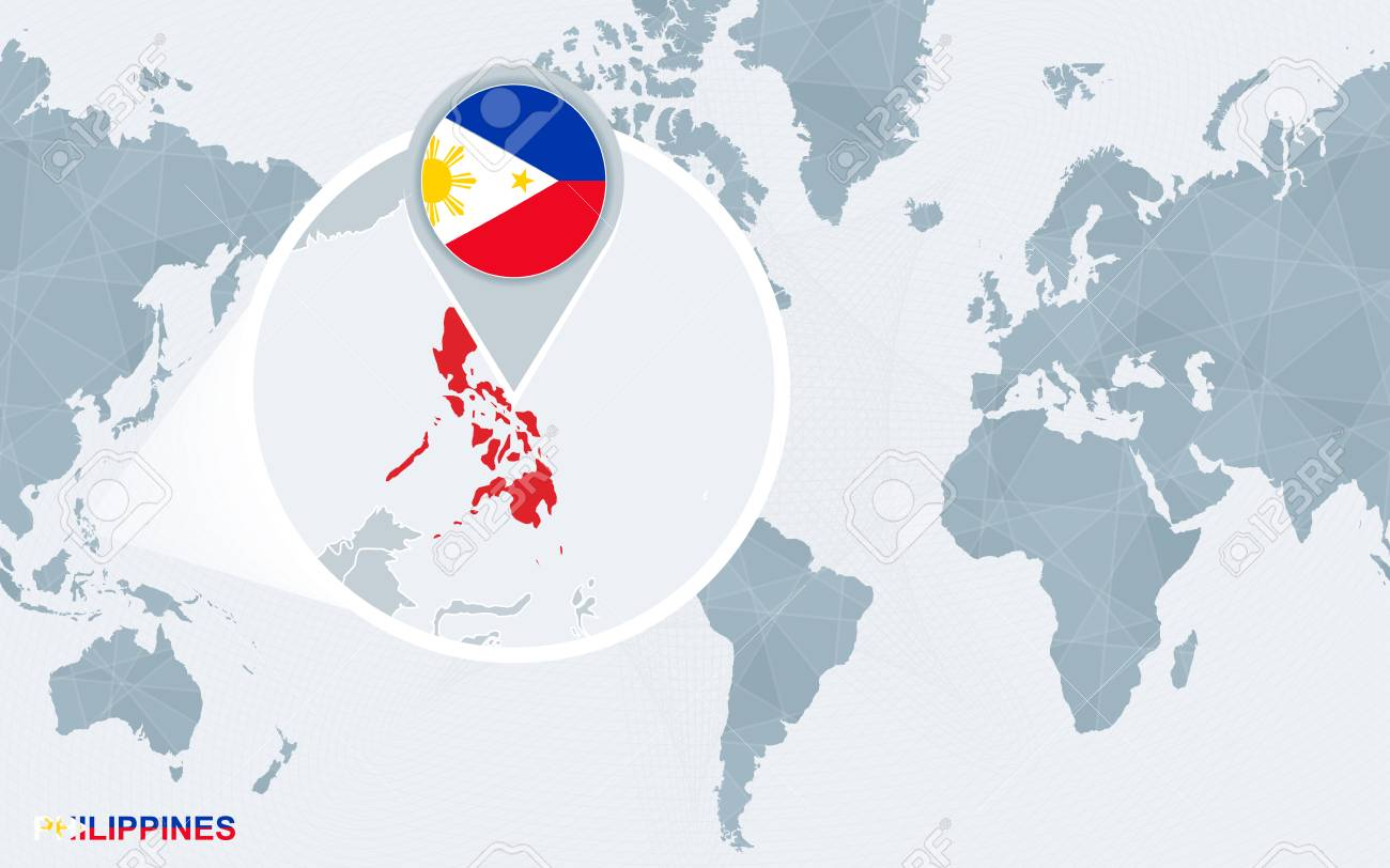 World Map Centered On America With Magnified Philippines Blue