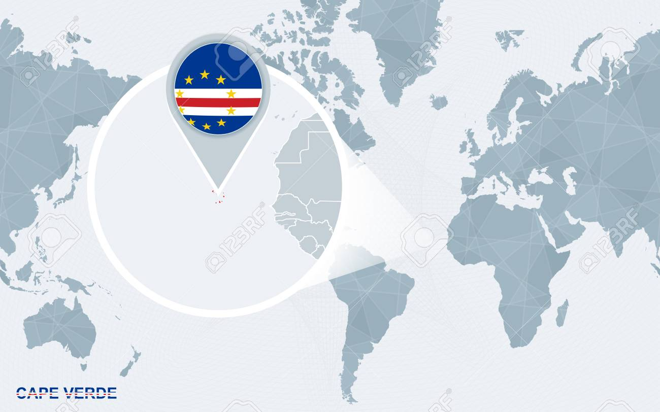 Where Is Cape Verde Located On The World Map.World Map Centered On America With Magnified Cape Verde Blue