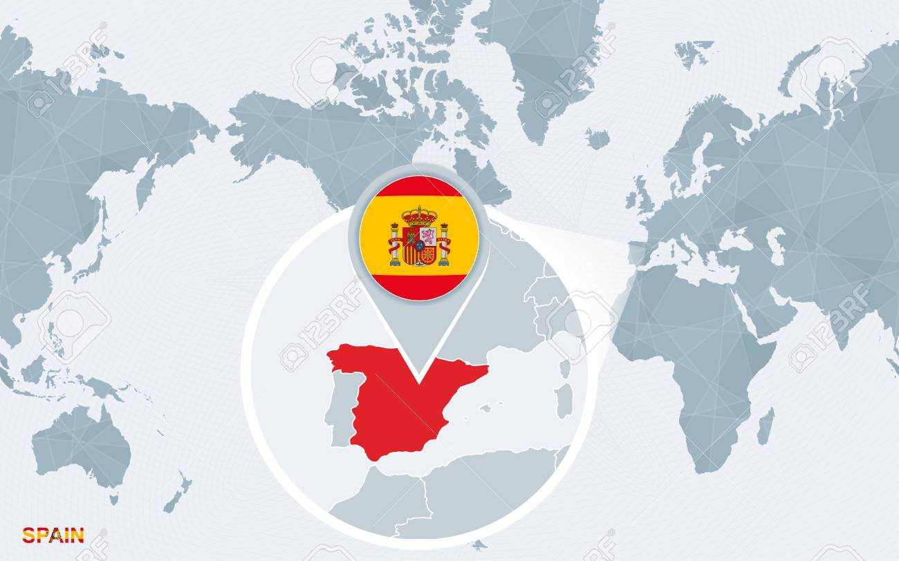 Spain On Map Of World.World Map Centered On America With Magnified Spain Blue Flag