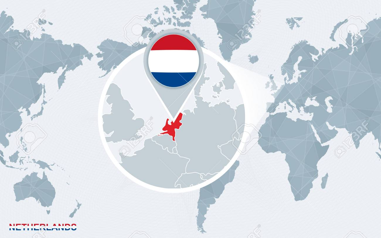 World Map Centered On America With Magnified Netherlands Blue