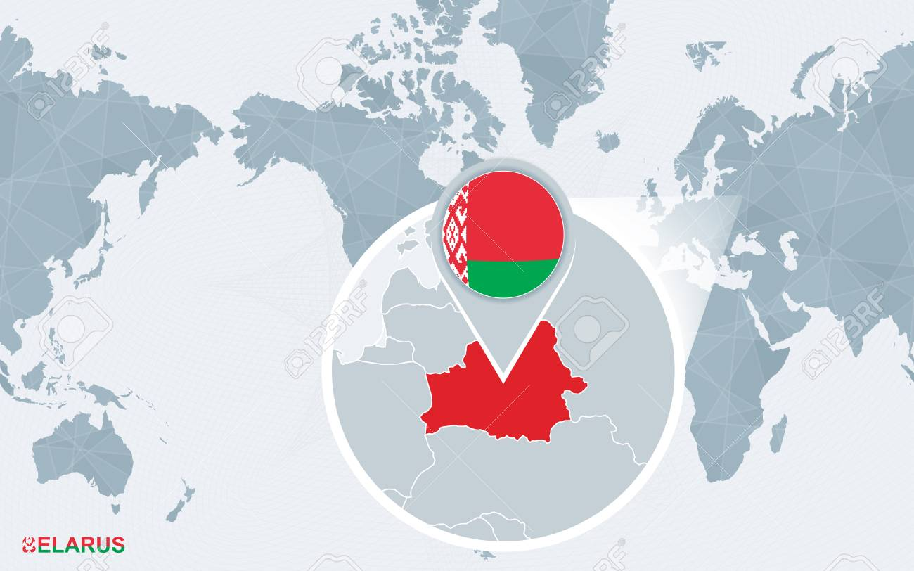 Picture of: World Map Centered On America With Magnified Belarus Blue Flag And Map Of Belarus Abstract Vector Illustration Ilustraciones Vectoriales Clip Art Vectorizado Libre De Derechos Image 102931590