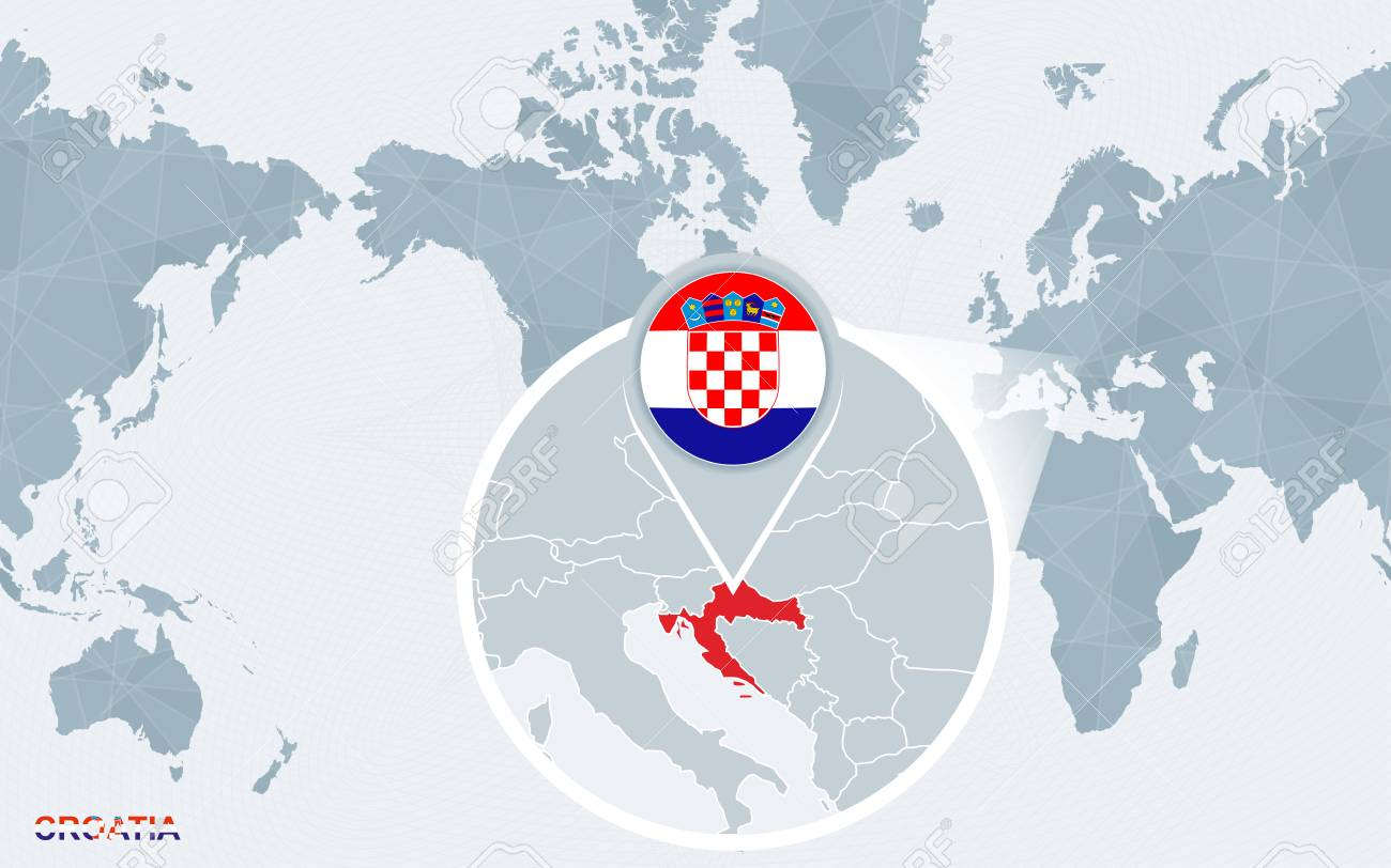 Photos World Map.World Map Centered On America With Magnified Croatia Blue Flag