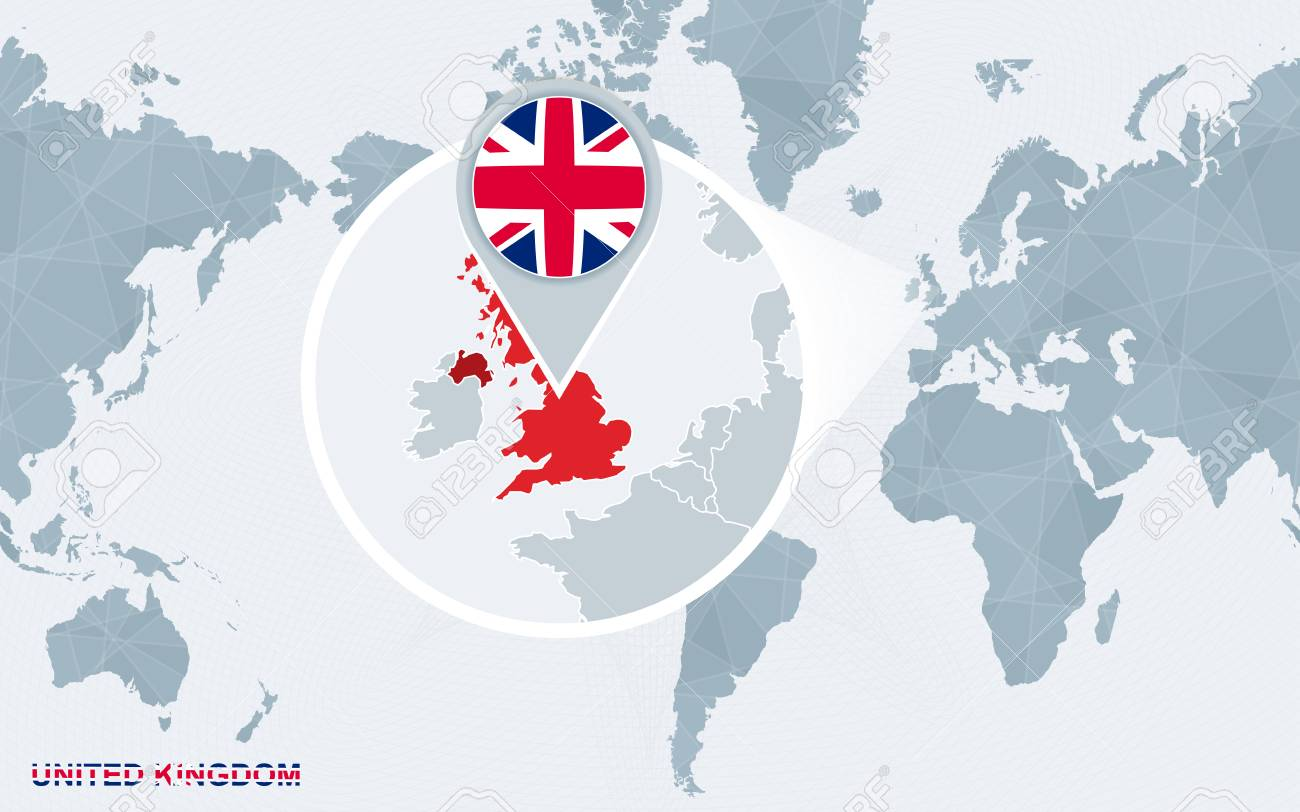 United Kingdom On The World Map.World Map Centered On America With Magnified United Kingdom