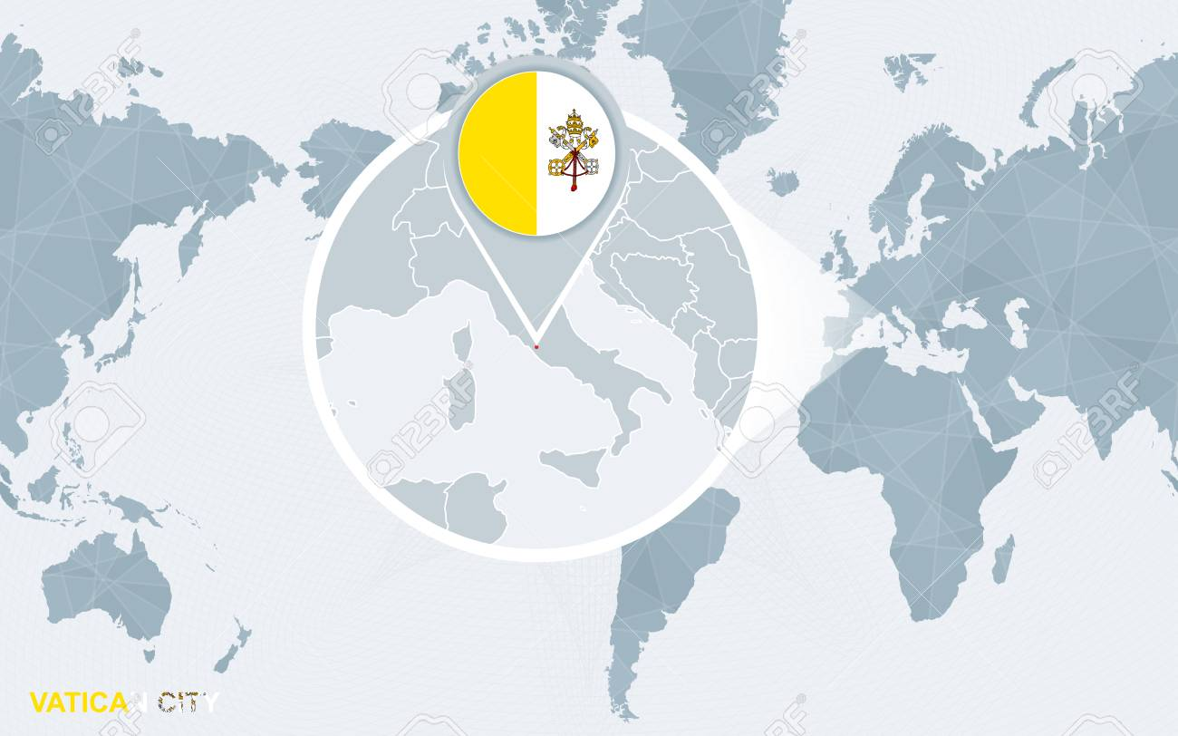 Vatican City On World Map.World Map Centered On America With Magnified Vatican City Blue