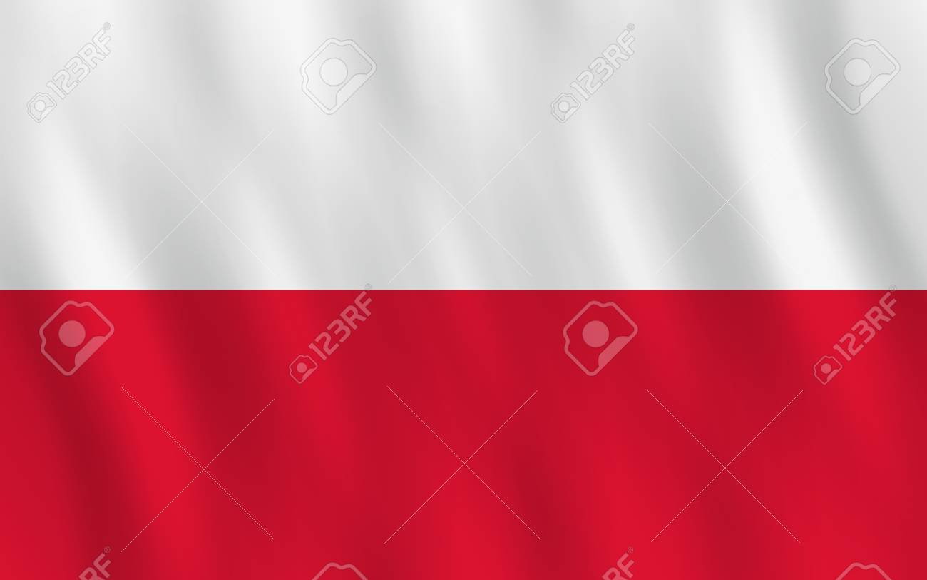 Poland flag with waving effect, official proportion. - 112146761