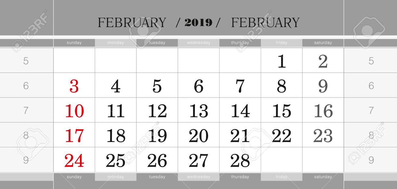 Wall Calendar February 2019 February 2019 Quarterly Calendar Block. Wall Calendar In English