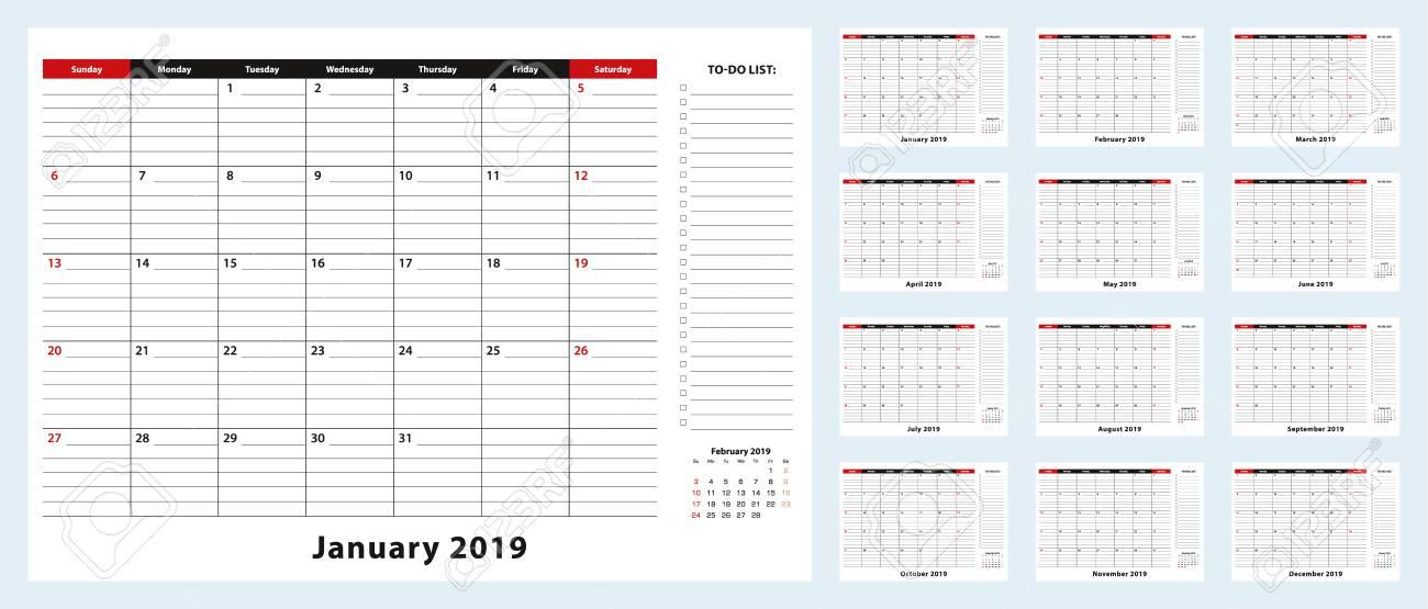 Calendar 2019 December January 2019 Monthly Desk Pad Calendar, January 2019   December 2019. Calendar