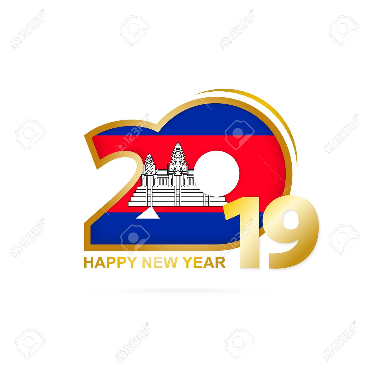 Cambodian New Year 2019 Year 2019 With Cambodia Flag Pattern. Happy New Year Design