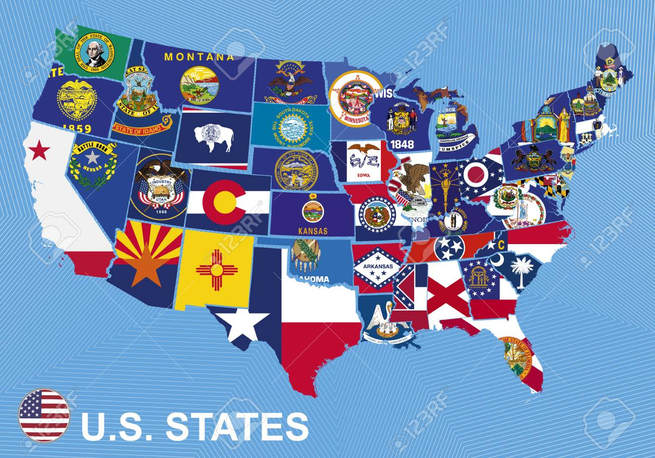 US map with flags of states, on blue background Image Of Us Map Flags on map of italy flag, map russia flag, map of halloween, map of pear, us map states flag, map of canada flag, map of europe flag, map of navy, map of air force, map of california flag, map france flag, map of constitution, map of america flag, map of abraham lincoln, map of germany flag, map of africa flag, south america flag, map of puerto rico flag, map of mexico flag, map of uk flag,