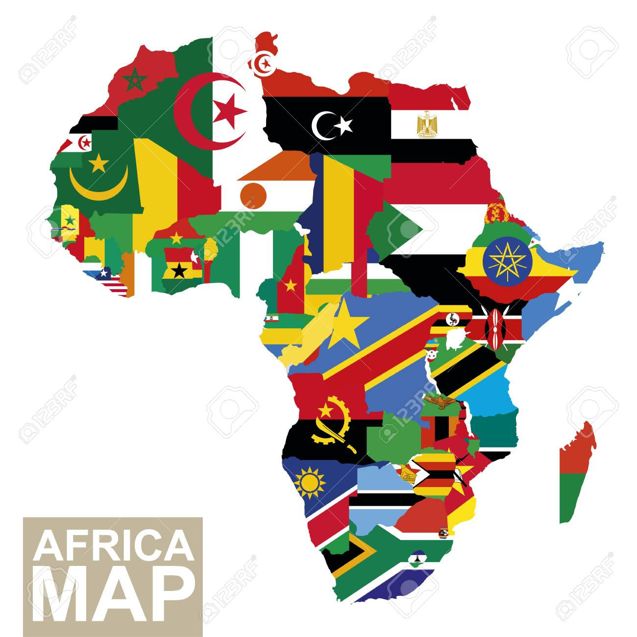 Africa Map. Vector Map Of Africa With Flags. African Countries