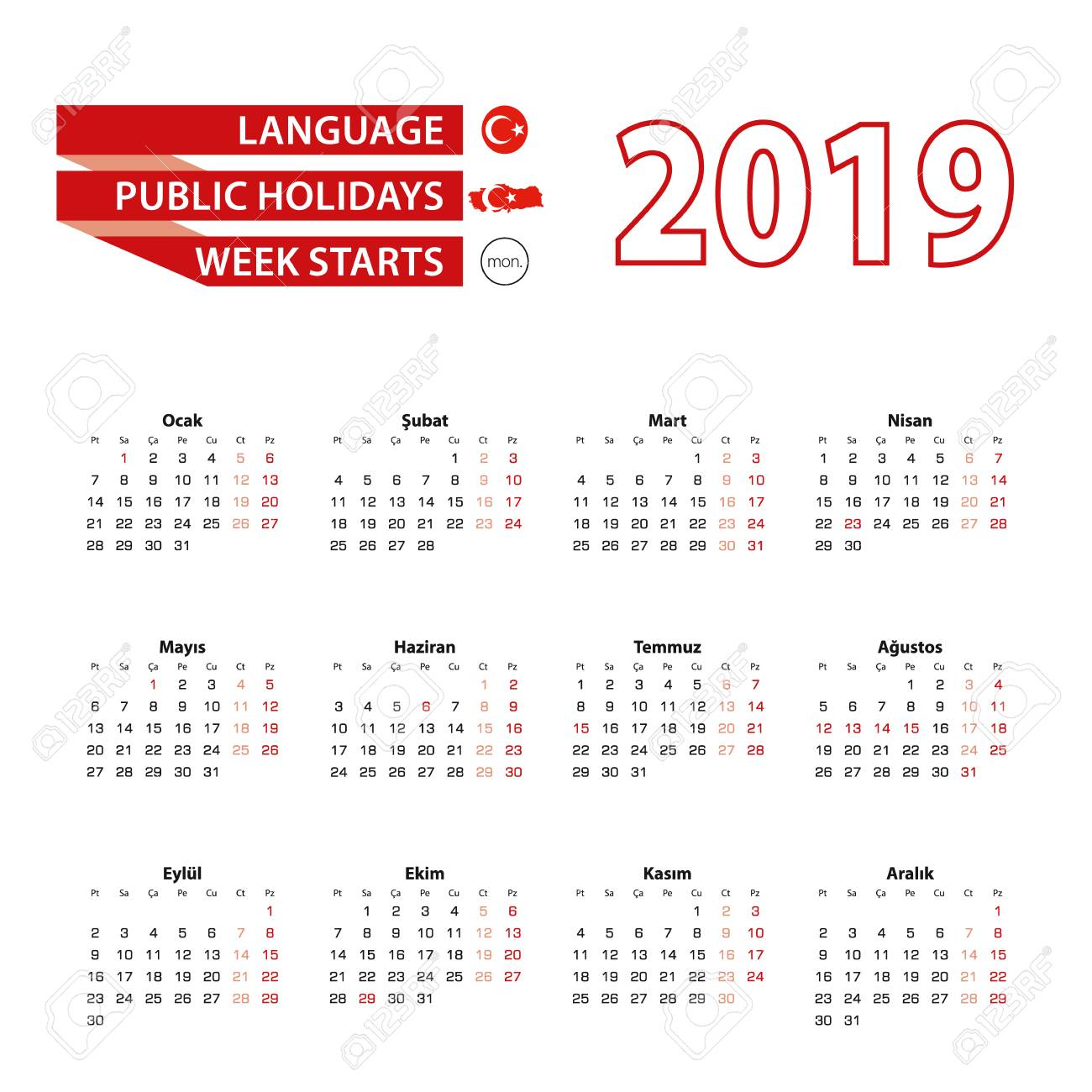 Cu Calendar 2019 Calendar 2019 In Turkish Language With Public Holidays The Country