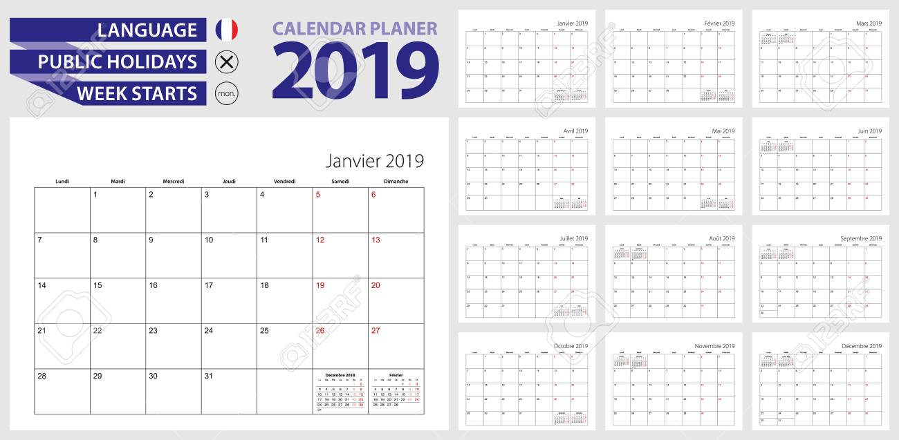 French Calendar Planner For 2019 French Language Week Starts