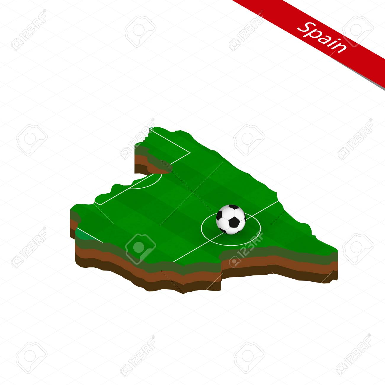 Football Map Of Spain.Isometric Map Of Spain With Soccer Field Football Ball In Center