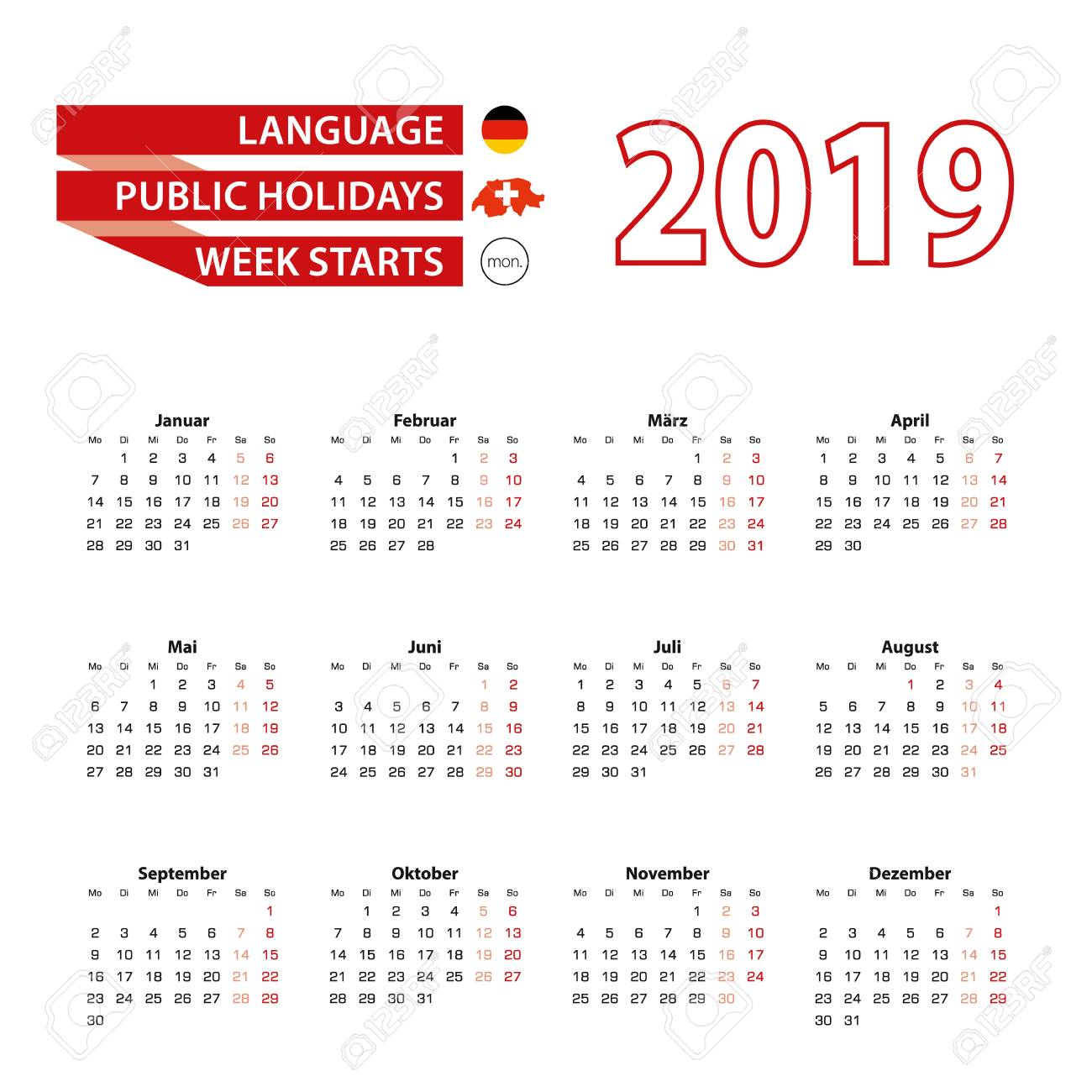 calendar 2019 in germany language with public holidays the country of switzerland in year 2019