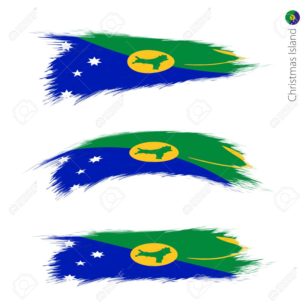 Christmas Island Flag.Set Of 3 Grunge Textured Flag Of Christmas Island Three Versions