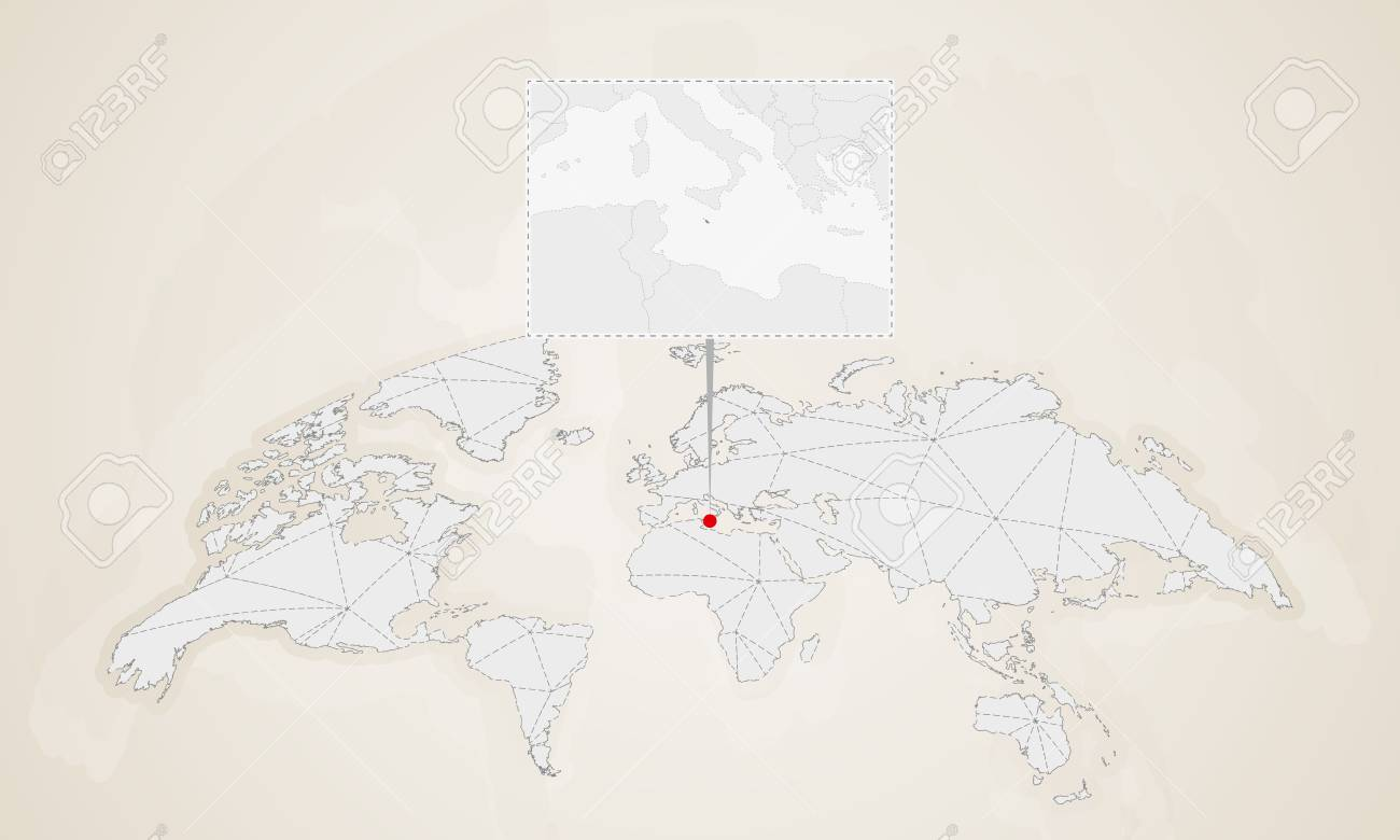 Map of Malta with neighbor countries pinned on world map. Abstract..