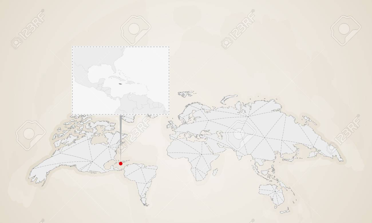 Map Of Jamaica With Neighbor Countries Pinned On World Map. Abstract ...