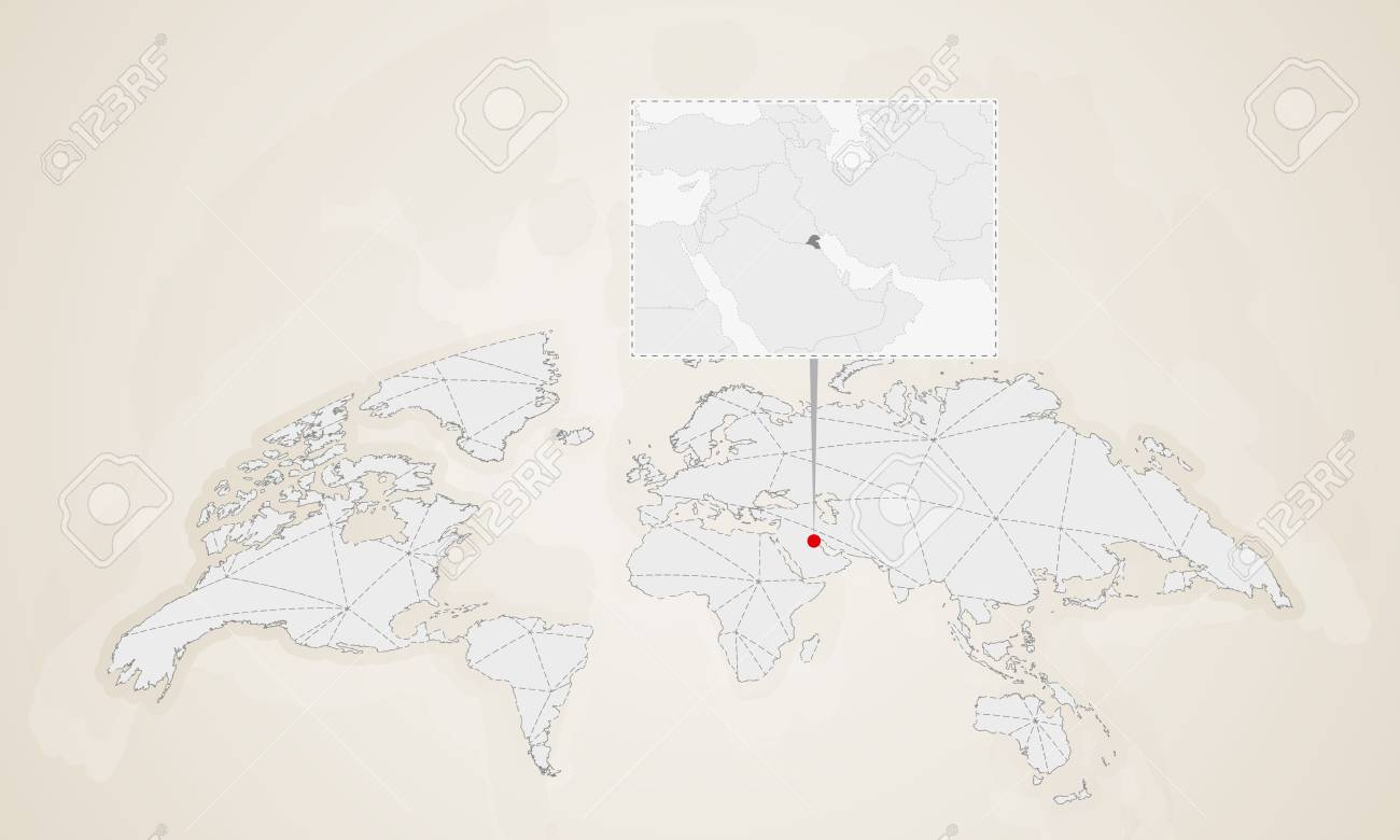 Map of Kuwait with neighbor countries pinned on world map. Abstract..