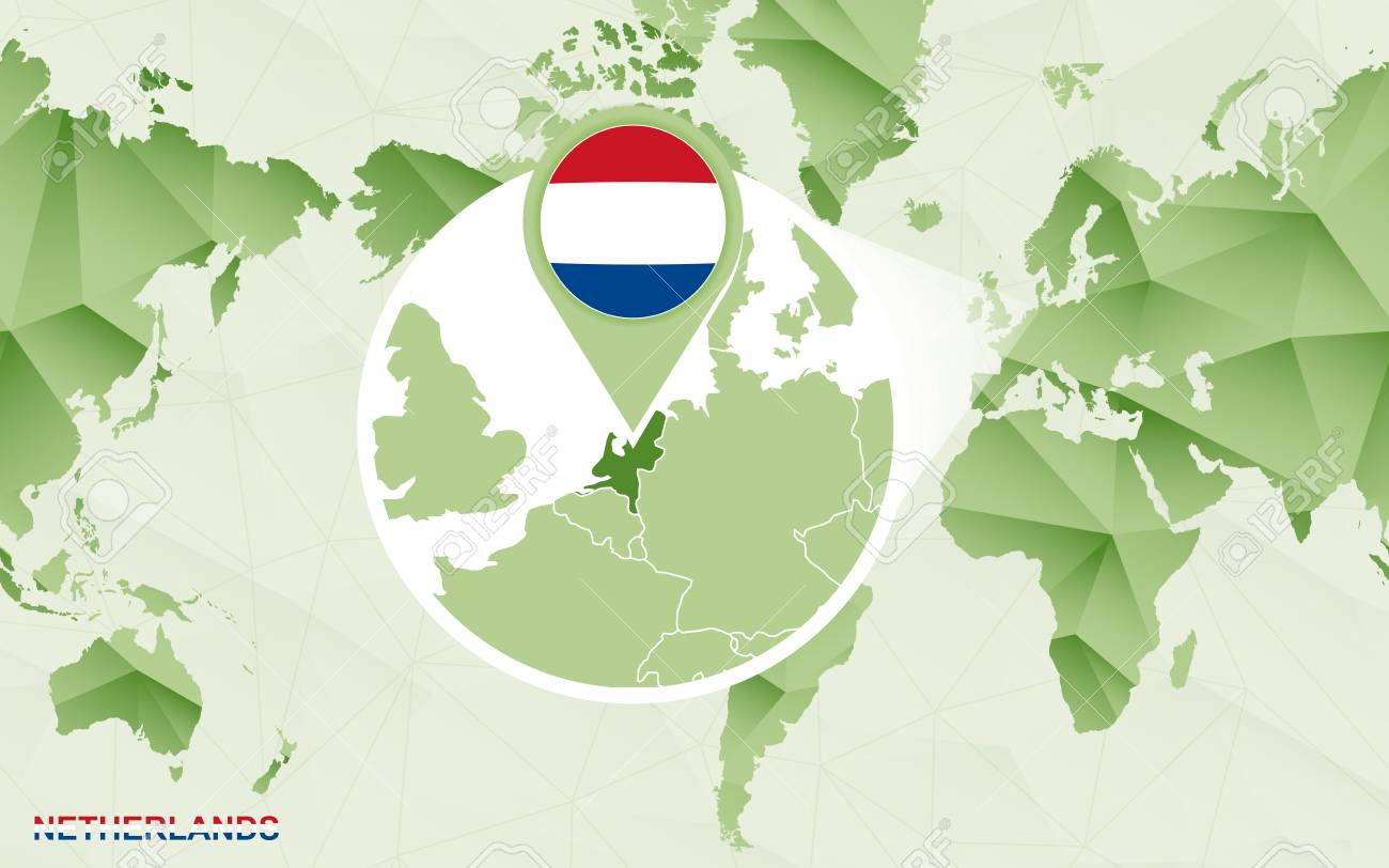America centric world map with magnified Netherlands map. Green polygonal world map. - 124987416