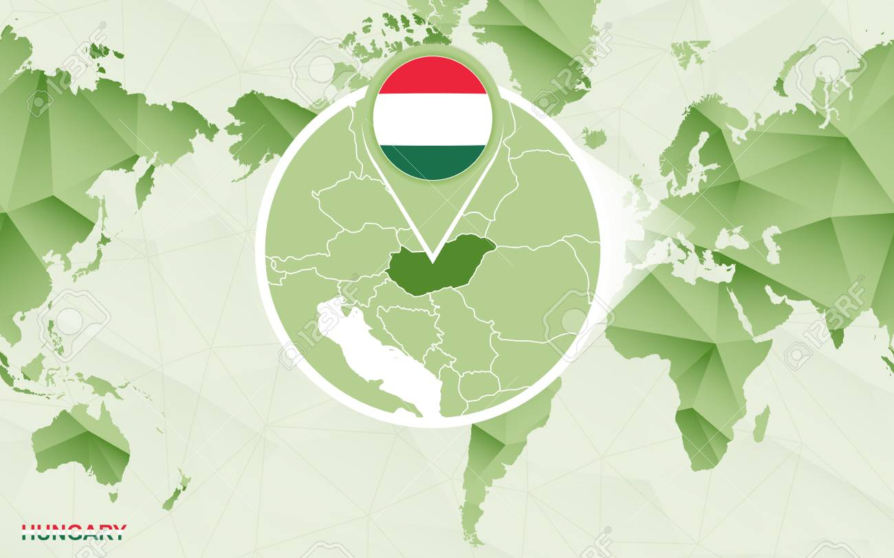 Image of: America Centric World Map With Magnified Hungary Map Green Polygonal Royalty Free Cliparts Vectors And Stock Illustration Image 124987425