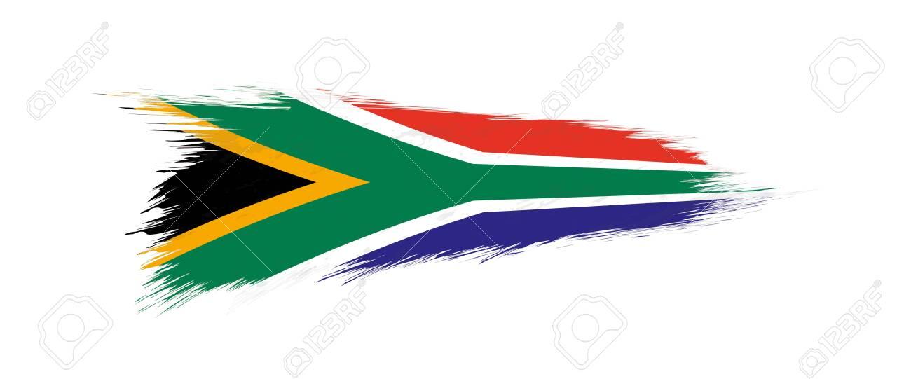 Flag of South Africa in grunge brush stroke, vector grunge illustration. - 123911778