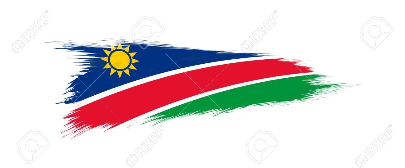 Flag of Namibia in grunge brush stroke, vector grunge illustration. - 123911779