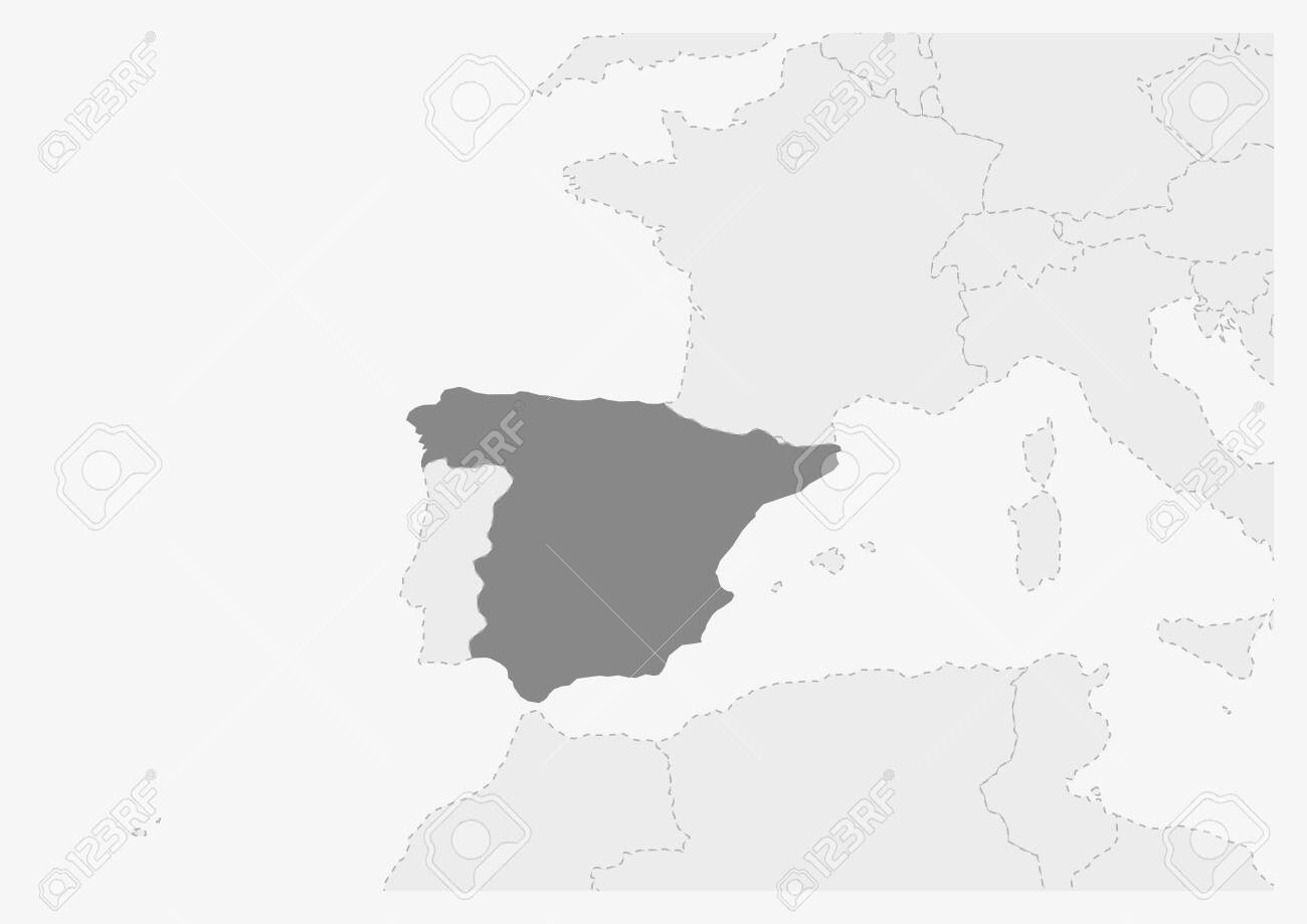 Map of Europe with highlighted Spain map, gray map of Spain..