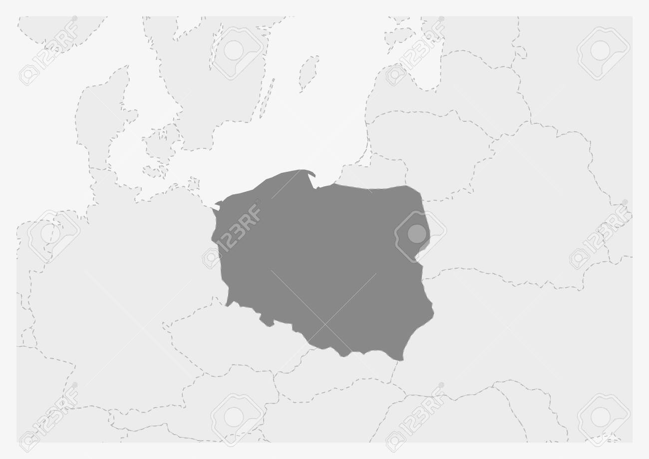 Map of Europe with highlighted Poland map, gray map of Poland..