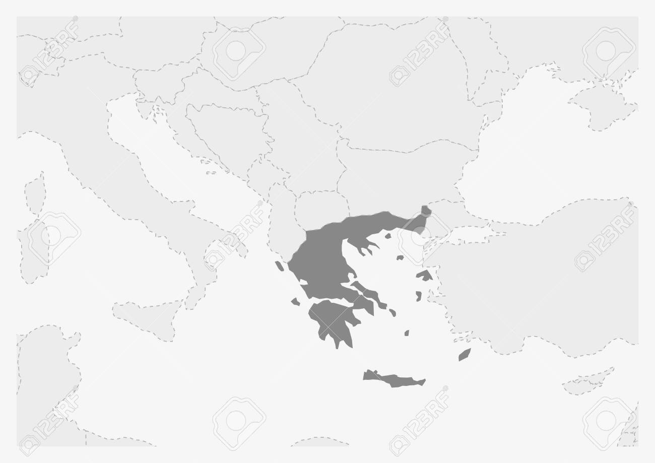 Greece Map Europe.Map Of Europe With Highlighted Greece Map Gray Map Of Greece