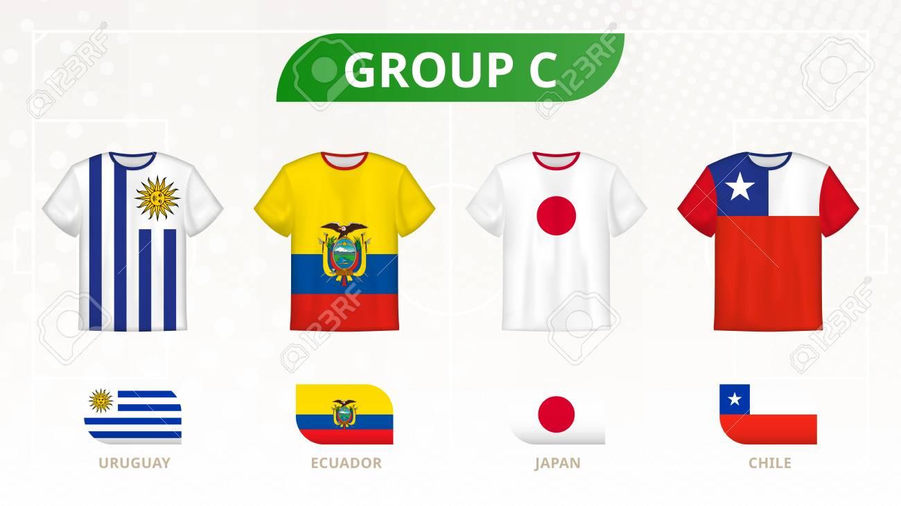Football t-shirt with flags, teams of group C: Uruguay, Ecuador, Japan, Chile. - 123981245