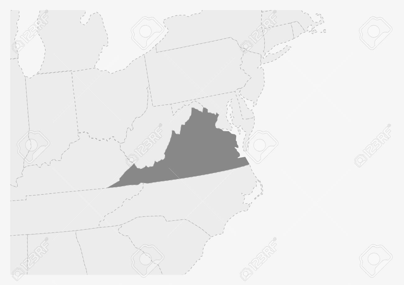 Map of USA with highlighted Virginia map, gray map of US State..