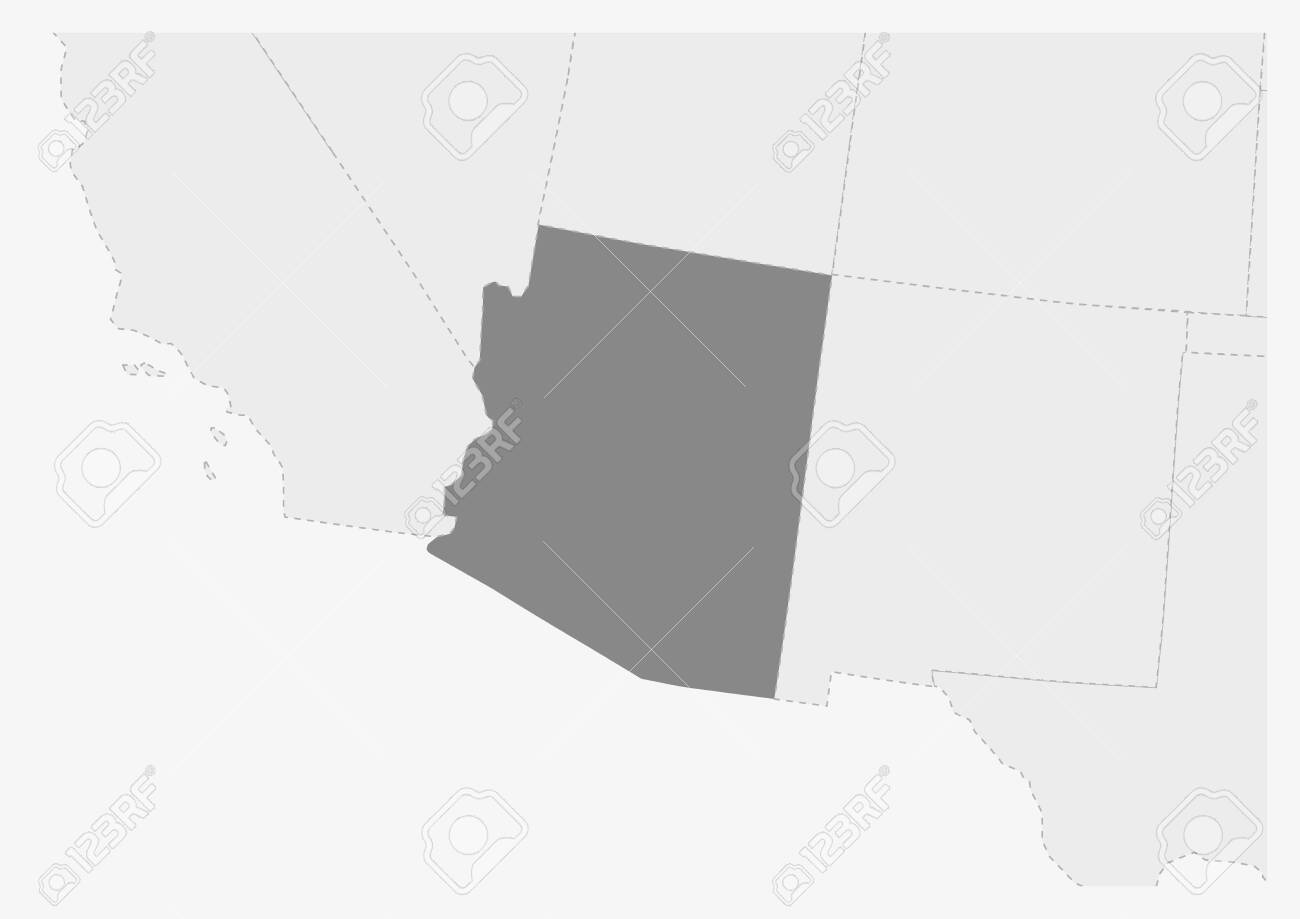 Arizona On A Map Of Usa.Map Of Usa With Highlighted Arizona Map Gray Map Of Us State