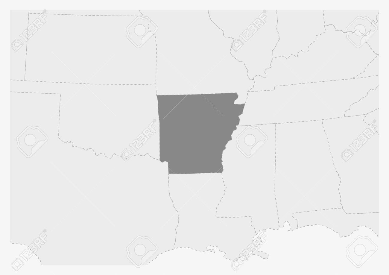 Map of USA with highlighted Arkansas map, gray map of US State..