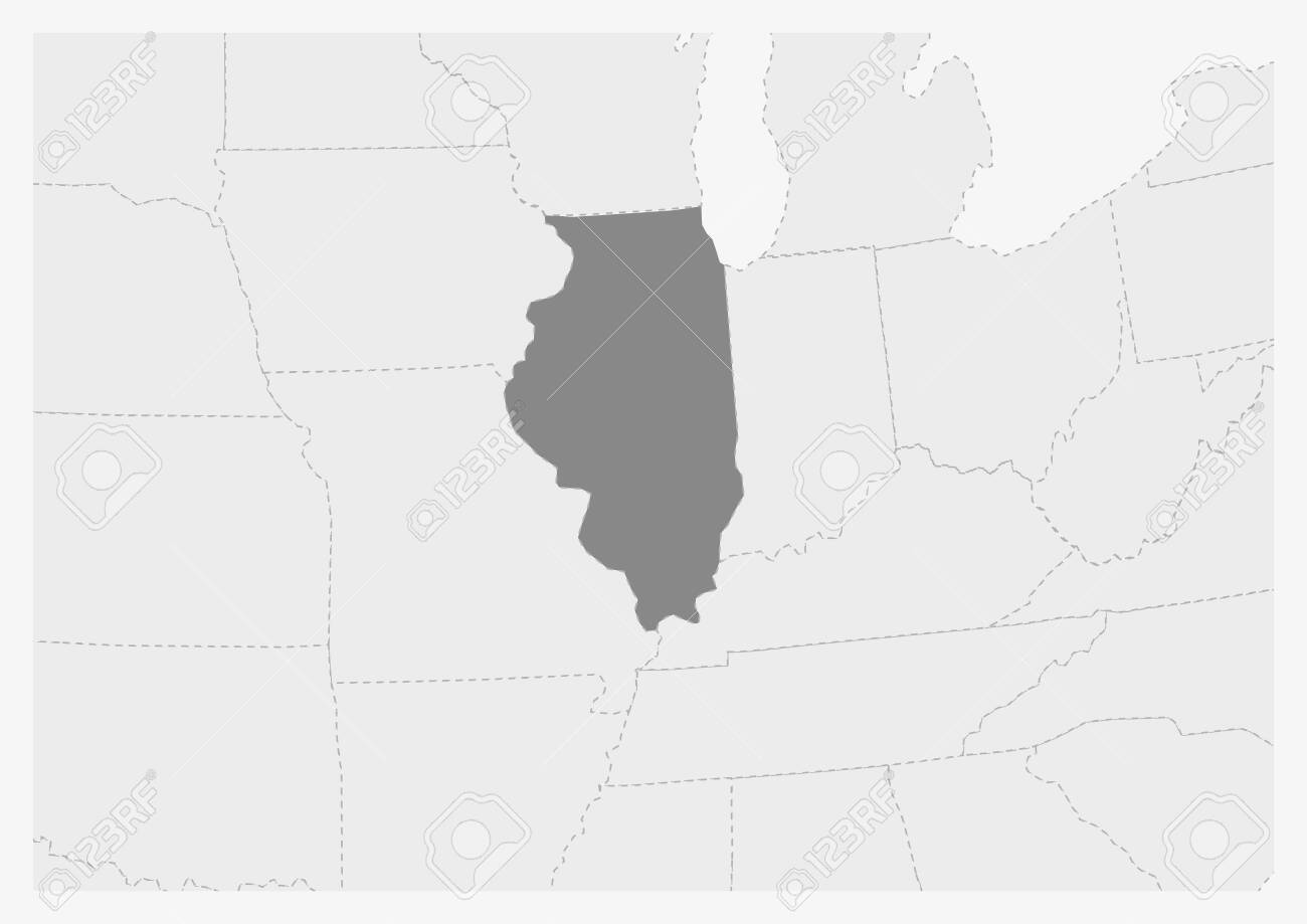 Map of USA with highlighted Illinois map, gray map of US State.. Gray State Map Usa on gray italy map, gray russia map, gray global map, gray poland map, gray world map, gray europe map, gray belgium map, gray puerto rico map, gray canada map, gray indonesia map, gray mexico map, gray asia map,