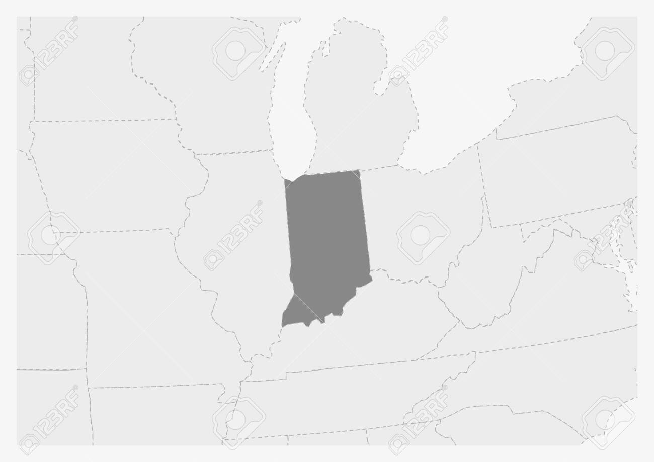 Map of USA with highlighted Indiana map, gray map of US State..