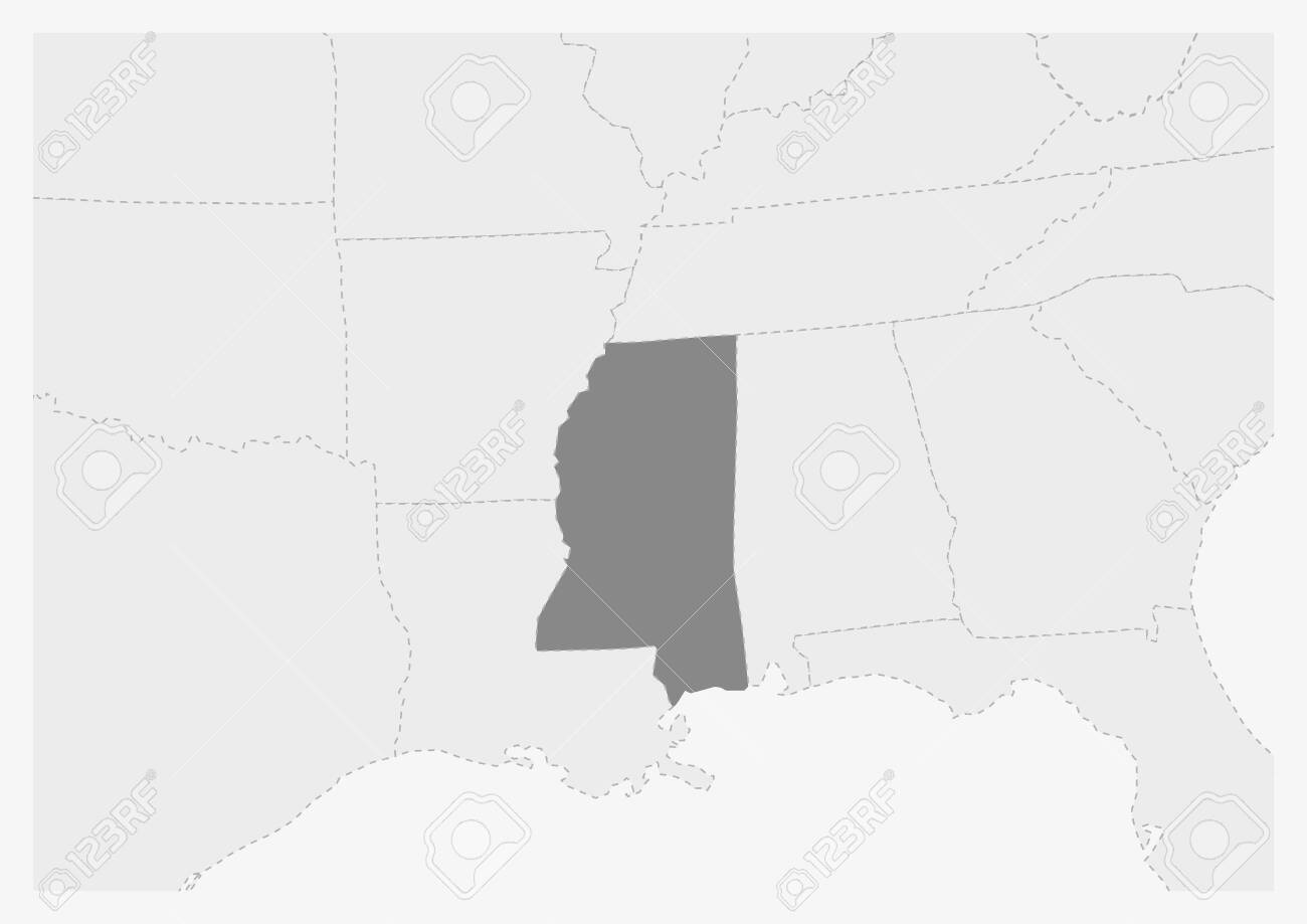 Map of USA with highlighted Mississippi map, gray map of US State..