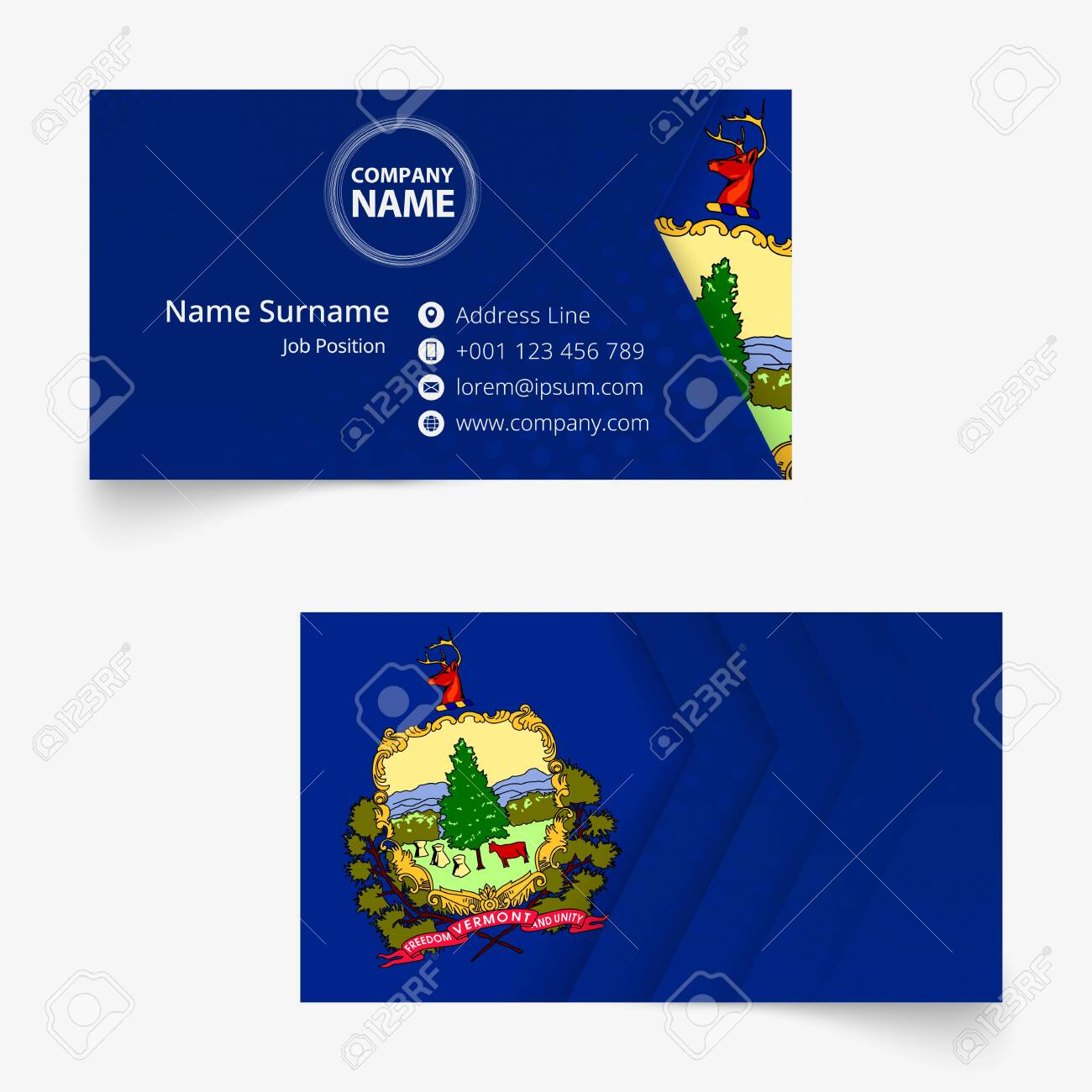 Vermont Flag Business Card Standard Size 90x50 Mm Business