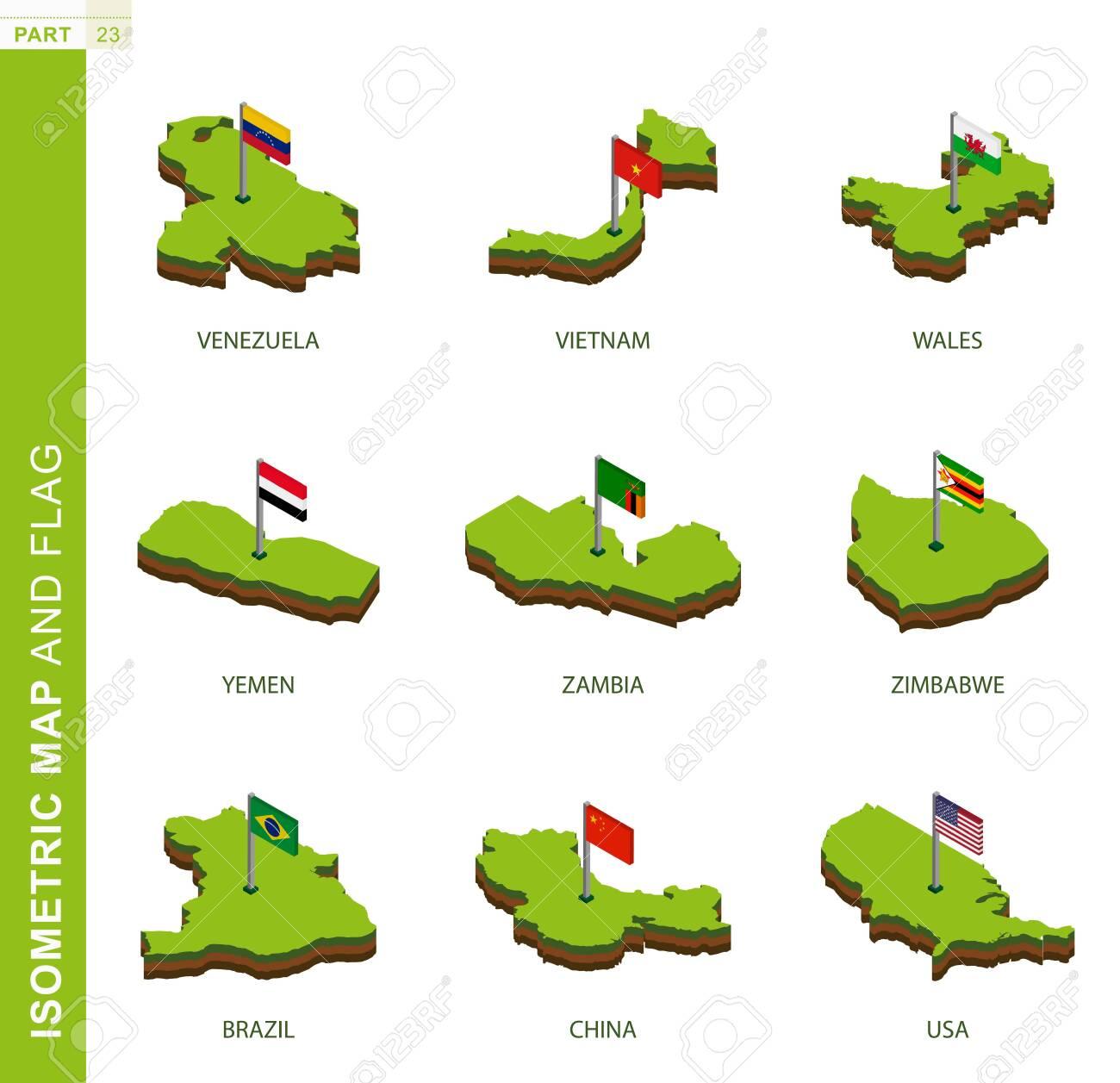 Set of 9 isometric map and flag, 3D vector isometric shape of Venezuela, Vietnam, Wales, Yemen, Zambia, Zimbabwe, Brazil, China, USA - 134229935