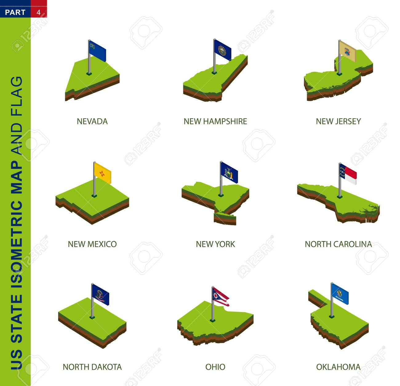 Set Of 9 Isometric Us State Maps And Flags 3d Vector Isometric Royalty Free Cliparts Vectors And Stock Illustration Image 134229245