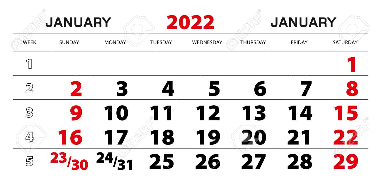 Wall Calendar 2022.Wall Calendar 2022 For January Week Start From Sunday Block Royalty Free Cliparts Vectors And Stock Illustration Image 150287841